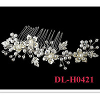 Wholesale Silk Jewellery - 2017 Free Shipping In stock 100% Handmade Twisted Pearl Crystal Floral Wedding bridal Comb Hair Jewellery