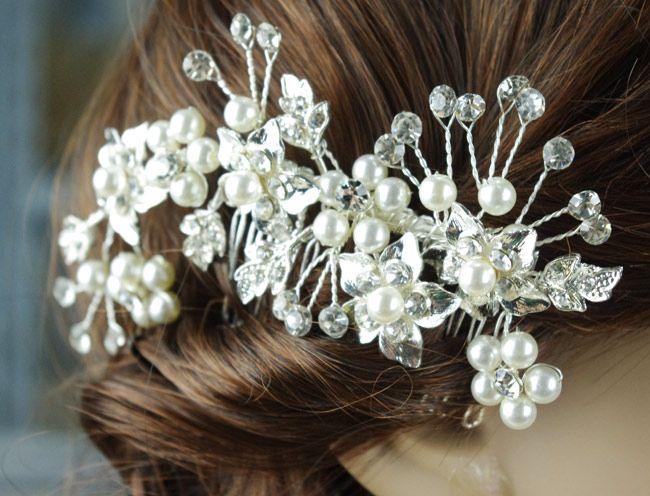 2020 envío libre en la acción 100% hecho a mano trenzado de perlas de cristal floral de la boda de novia joyería del pelo peine