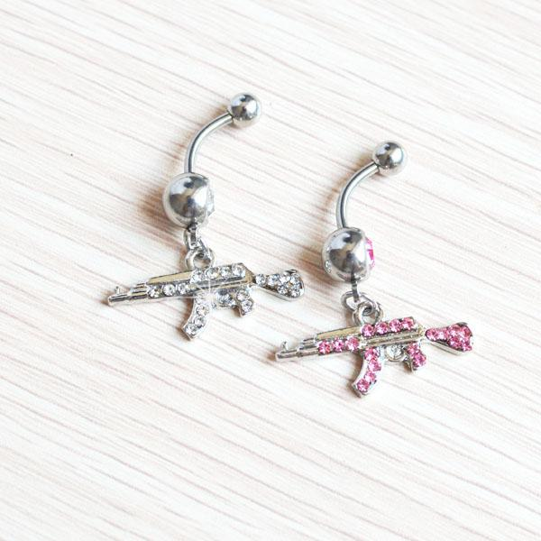 D0081-2   Belly navel ring Nice GUN STYLE navel belly ring CLEAR color stone drop shipping