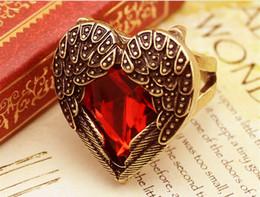 Wholesale Diamond Adjustable Rings - Luxury Ruby Zircon Diamond Angel Wing Ladies Adjustable Solitaire Ring Elegant Crystal Cocktail Ring