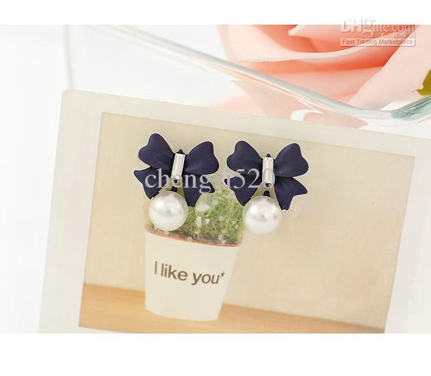 Boucles d'oreilles en forme de perle de diamant bleu marine, style élégant