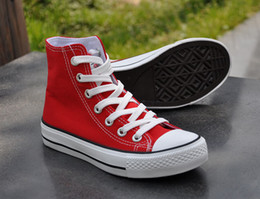 Wholesale Tall Canvas Shoes - New Fashion Woman's Red White Black Flat Sneaker Sport Shoes Leisure Canvas Dance Tall Canister Shos