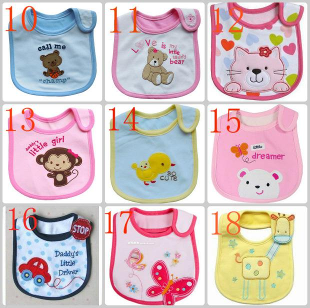 Pamuk Bebek Önlükler 3-Layers Su Geçirmez Önlük Besleme Karikatür Bebek Önlükler Burp Bezleri sıcak satıcı