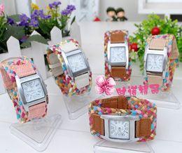 Wholesale Rainbow Women Belt - Fashion women rainbow quartz wrist watch wave leather rope wide belt band square watches bracelet