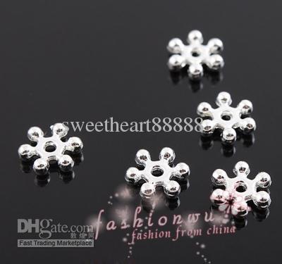 Verzilverd Snowflake Spacer Bead 8mm Kralen 1000 stks / partij Gratis schip Sieraden Bevindingen Componenten Heet Verkopen