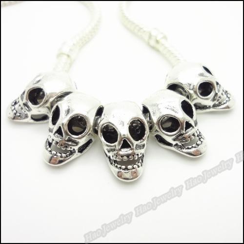 Fascini tibetani del cranio del branello europeo adatto del braccialetto di antiquariato della lega d'argento perline grande buco 200PCS / LOT