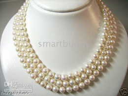 """Wholesale Japanese Akoya White Pearl Necklace - Fine Pearl Jewelry 3-STRAND AAA 8-9MM japanese akoya White Pearls Necklace 19""""20""""21"""""""