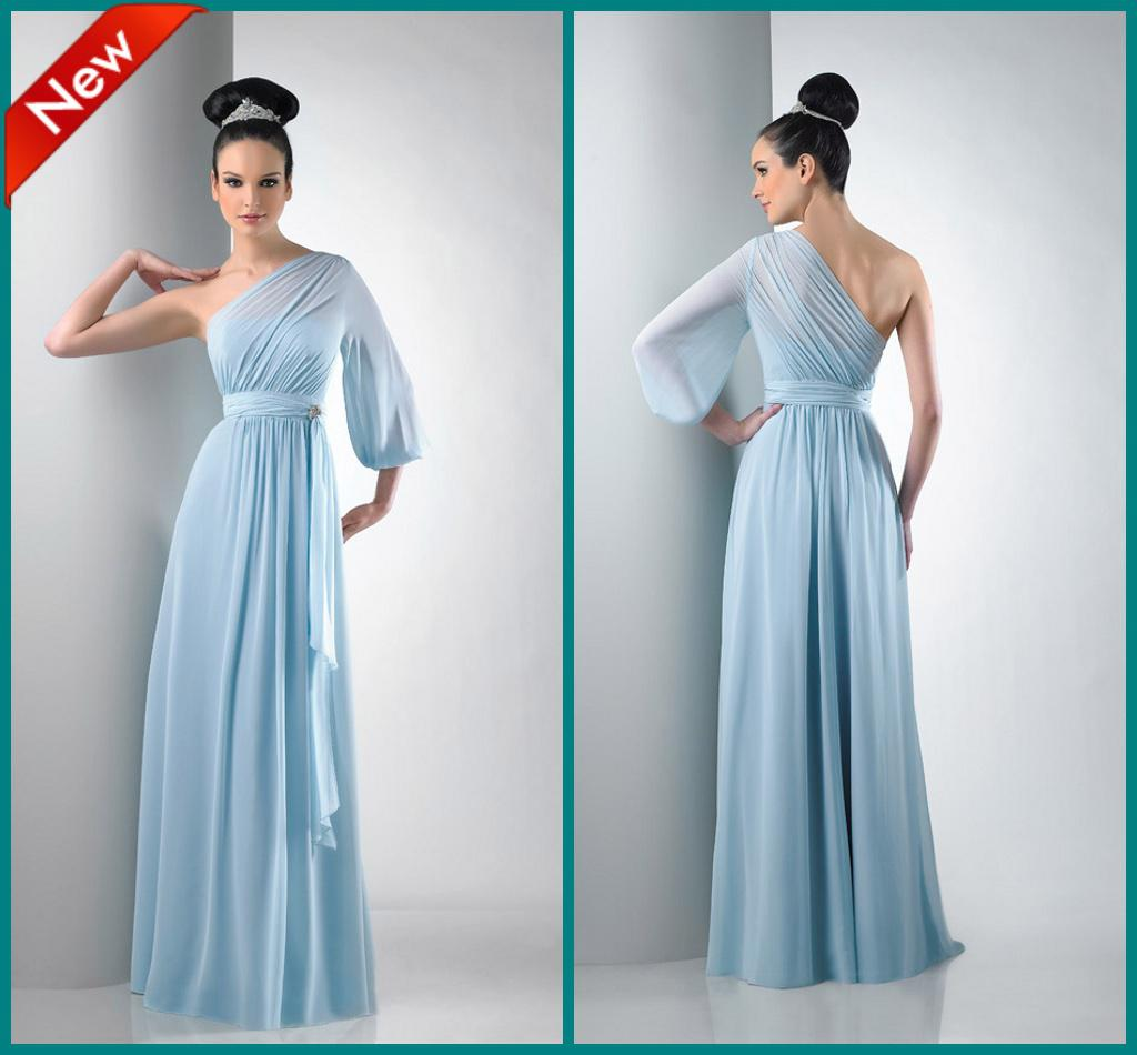 After Six One Shoulder Long Sleeve Ruffle Draped Floor Length ...