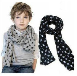 Wholesale Grey Scarf Skull - Child Baby baby Scarves Double Skull Scarves Shawl Printing Family Scarves