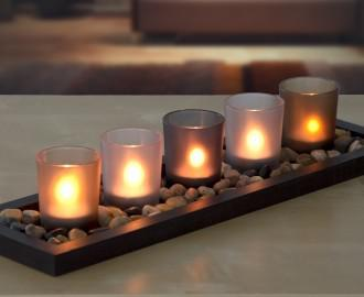 serenity 5 glass colourful candle set tealight jewel tone with tray rock stones brand new