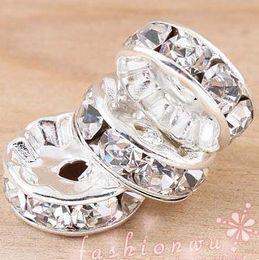 Großhandel 200 teile / los Silber Überzogene Strass Kristall Runde Perlen Spacer Perlen 10mm 8mm 12mm Lose Perlen Kristall