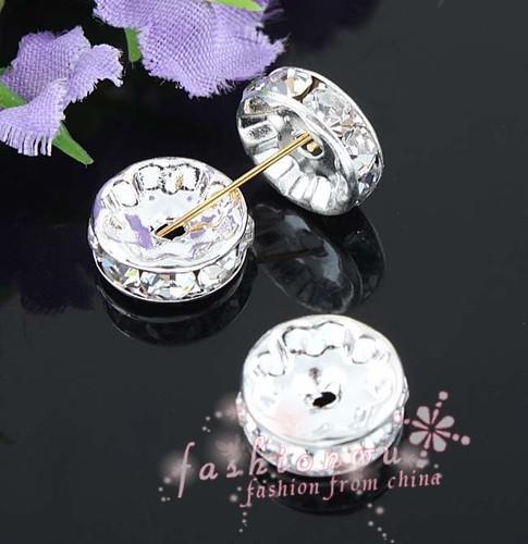 / Silver Plated Rhinestone Crystal Round Pärlor Spacers Pärlor 10mm 8mm 12mm Lösa pärlor Kristall