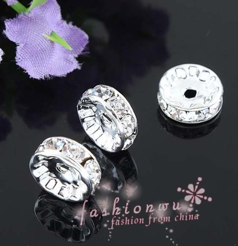200 قطعة / الوحدة الفضة مطلي حجر الراين كريستال جولة الخرز الفواصل الخرز 10 ملليمتر 8 ملليمتر 12 ملليمتر فضفاض الخرز الكريستال