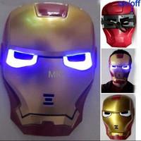 Wholesale Backing Up Movies - 10 PCS Lot Iron Man Mask LED Light Up Movie Guy Mask Hot Halloween Cosplay Toy Avengers US