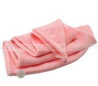 Wholesale Dry Hair Hat - 10pcs lot 60*22CM 4 colors Lady's Magic Hair Drying Towel Hat Cap Quick Dry Bath hair hat cap
