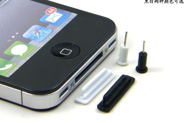 400pcs * Tappi anti-polvere tappo tappo cuffia auricolare spina antipolvere per iphone 4 4G 4S 3GS nero / bianco