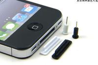rolhas de pó para iphone venda por atacado-400 pcs * Anti-Poeira Plug Stopper Headset Ear Cap Plugues À Prova de Poeira para o iphone 4 4G 4S 3GS Preto / Branco