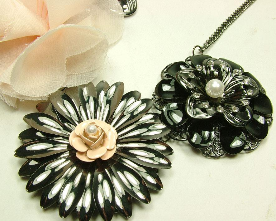 Svarta blommor + chiffongblomma halsband Ny varm sälja