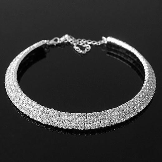 Стильный трех рядов полный стразами свадебные ювелирные изделия невесты ожерелье 1шт
