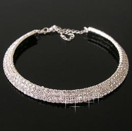 Wholesale Stylish Necklaces - Stylish Three Rows Full Clear Rhinestone Bride Wedding Jewelry Necklace 1pc