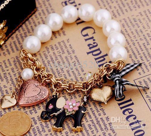 Retro Imitation Pearl Elephant Bracelet Bow Heart Armband