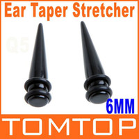 Wholesale Pair Magnetic Earring - 1 Pair Black Magnetic Fake Cheater Ear Expander Taper Plug Earring Stretcher 2g 6mm H8673