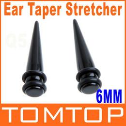 Wholesale Magnetic Earring 6mm - 1 Pair Black Magnetic Fake Cheater Ear Expander Taper Plug Earring Stretcher 2g 6mm H8673