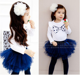 Wholesale Skirt Legging Shirt - girls' outfits baby set tee skirt pant suit lace dress legging white tops bow T-shirts CL391