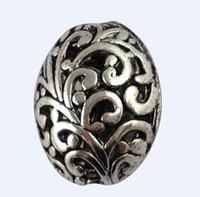 Wholesale Tibetan Filigree Beads - 20PCS Tibetan Silver Floral Filigree Oval Beads A12556