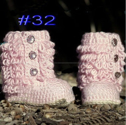 Discount pink baby girl winter boots - infant toddler knitted shoes handmade crochet boots baby handmade shoes,Solid color10pairs(20pcs) Baby Crib Shoes Baptis