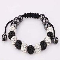 Wholesale Clay Pave Beads - New Style Fashion 10mm Crystal Pave Clay Disco Ball Crystal Beads 11 Beads Macrame Bracelet 10pcs