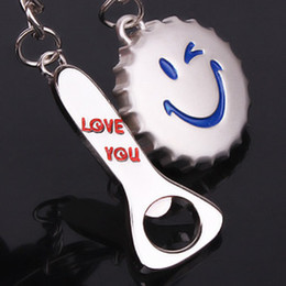 Wholesale Valentine Movie - 40pcs=20PR lot Wholesale Smiling face cap Lover Couple key chain Valentines Gift Christmas Gift