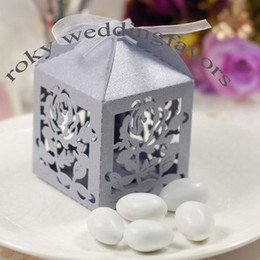 Wholesale Lantern Favors - Free Shipping!50pcs lot! Light Purple Laser Cut Rose Lantern Style Boxes Wedding Favors Party Favors
