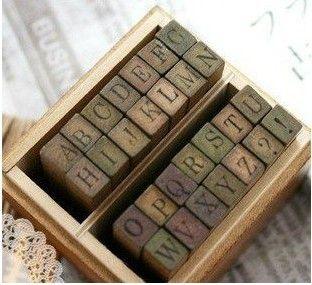 Funny uppercase lowercase wooden stamp set/28pcs per set/DIY stamp/Iron  Box/multi-purpose Decorative