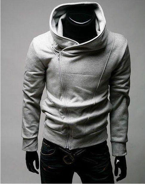 Hombre Fleece con capucha de manga larga suéter chaqueta cable sólido Capucha masculina de manga larga cepillado Assassins Creed