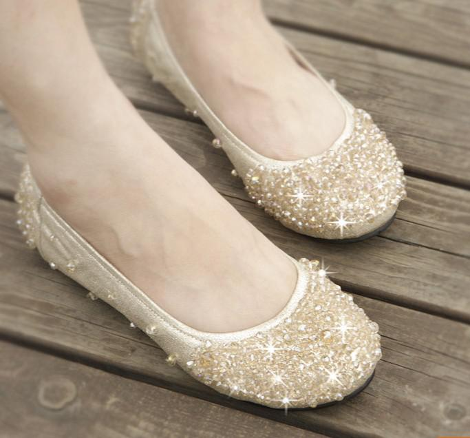 Hot Women S Shoe Dazzling Flat Heel Shoes Wedding Bridal