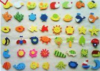 Wholesale Cute Wood Clip - Color wood Refrigerator magnet message Clip children's Cute cartoon Wooden fridge magnet sticker