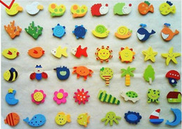Wholesale Cute Magnets - Color wood Refrigerator magnet message Clip children's Cute cartoon Wooden fridge magnet sticker