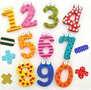 Enfants jouets éducatifs bricolage jouet numérique en bois couleur chiffres réfrigérateur aimants / autocollant,