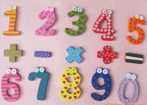 Educação infantil DIY Brinquedo cor digital geladeira de madeira figuras ímãs / Etiqueta Memo,