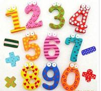 figura imanes de nevera al por mayor-La educación de los niños DIY Toy el refrigerador de madera del color digital figura imanes / etiqueta engomada de la nota,