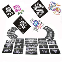 Wholesale Tattoo Glitter Stencil Sheets - 100 Mixed Design Sheets Stencils for Body Painting Glitter Tattoo Kit Supply PH-D02*100