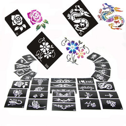 Wholesale Designs Tattoo Body Painting - 100 Mixed Design Sheets Stencils for Body Painting Glitter Tattoo Kit Supply PH-D02*100