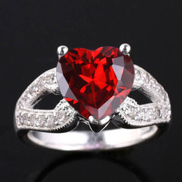 Wholesale Real Garnet - Women Heart Cut Simulated Red Garnet Nal Real 925 Sterling Silver Ring R007