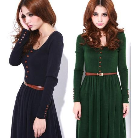 Long Winter Dresses with Sleeves