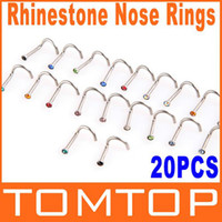 Wholesale Curved Piercing - 5sets lot, 20pcs set Colorful Stainless Steel Rhinestone Curved Nose Studs Rings body Piercing Jewelry H8824
