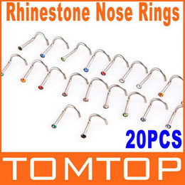 Wholesale Curve Body - 5sets lot, 20pcs set Colorful Stainless Steel Rhinestone Curved Nose Studs Rings body Piercing Jewelry H8824