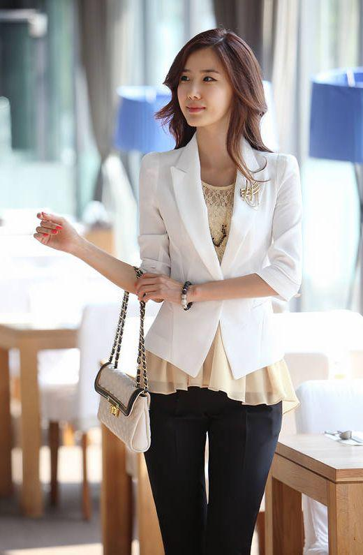 2017 Women Suit Jacket Ol Chiffon Short Blazer One Button Deep V ...