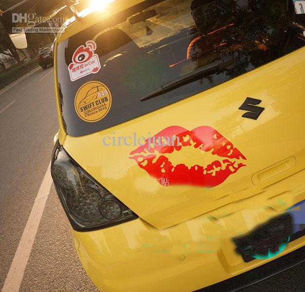 車のための車の後部鏡のデカールの200個/ロット赤い唇ビニール面白いステッカー