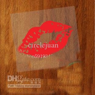 200 stycken / mycket röd läpp vinyl roliga klistermärken på bil bakre spegel dekal för bil